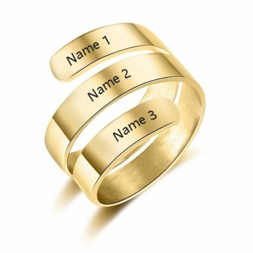 Personalizado grabadas 3 nombres anillo de acero inoxidable regulables regalo amiga