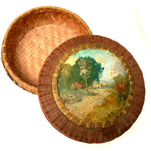 Antique Hand Made Tightly Woven Sewing Basket, Hand Painted Country Scene
