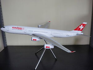 Large 1/120 Swiss Air Airbus A340-300 Airplane Model with delux stand