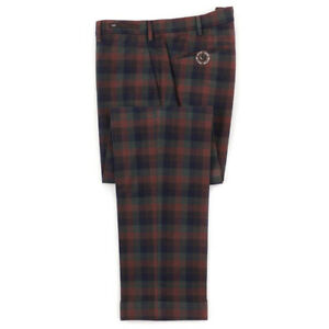NWT-495-PT01-Slim-Fit-Rust-Blue-Green-Multi-Check-Cotton-Pants-36-EU-52