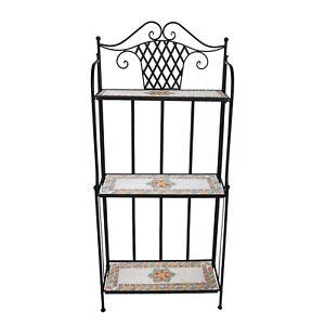 regal metallregal f r balkon garten mit blumen mosaik blumentreppe mediterran ebay. Black Bedroom Furniture Sets. Home Design Ideas