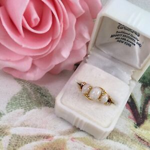 Vintage-Jewellery-Gold-Ring-with-Opals-White-Sapphires-Antique-Deco-Jewelry-sz-L