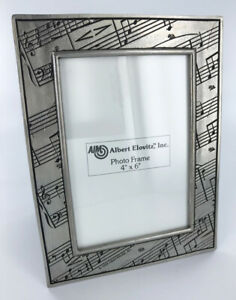 Pewter-Picture-Frame-4x6-with-Music-Notes-Design-vertical-photo-frame-NEW