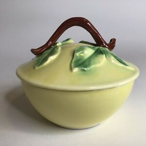 Vintage Belmar California Pottery USA Pear Yellow Bowl w/Lid Mid Century Modern