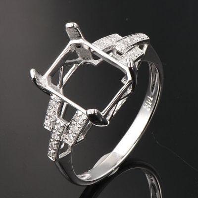 0.12 ct 14k White Gold Semi Mount Halo  Diamond Pendant Oval Cut fit 4 x 6 mm