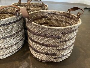 """Threshold Lampakamay Basket With Leather Handles 10.5""""H x12.5"""" Dia NEW"""
