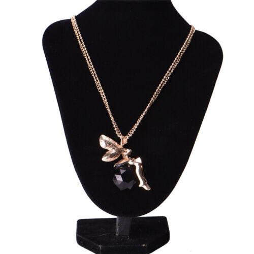 Frauen Crystal Fairy Engel Flügel Anhänger lange Kette Pullover Halskette AB
