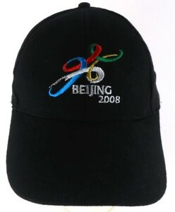 Beijing China 2008 Olympics Extra Long Bill Strapback Black Cap Hat ... 1f1fe592bcde