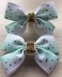 2 Filles Joli Vert Menthe Et Or Shaded Handmade Ribbon Hair Bows/fermoirs/clips