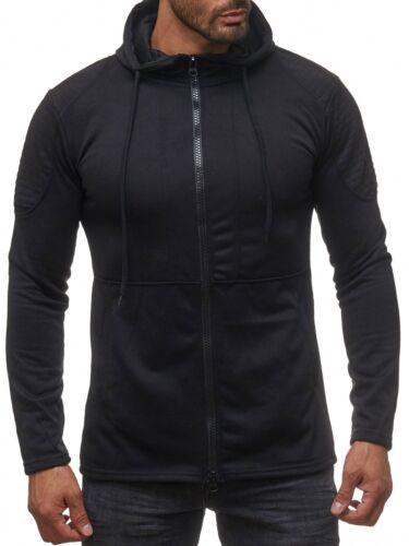 Uomo Hoodie con Cappuccio Giacca Giacca Biker Cappuccio Sweat Shirt Gilet Maglioncino Nuovo