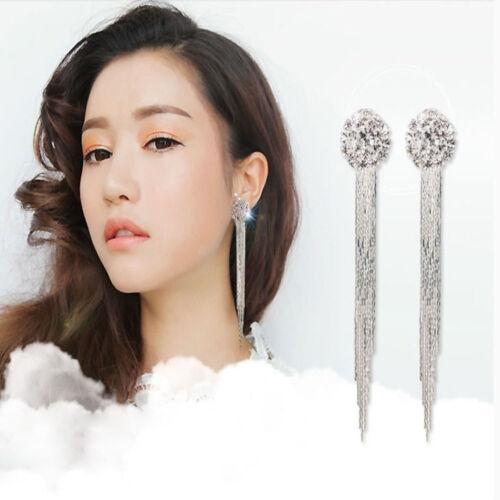 Femmes Strass Long Tassel Dangle Boucles d/'oreilles cristal d/'oreille Stud Clip Charm Bijoux