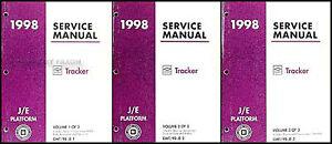 1998 geo tracker shop manual set 98 original oem repair service rh ebay com 1998 chevy tracker manual 1998 chevy tracker repair manual