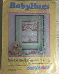 DIMENSION-Baby-Hugs-Bears-Bunnies-Birth-Record-Counted-Cross-Stitch-Kit-1986-NIP