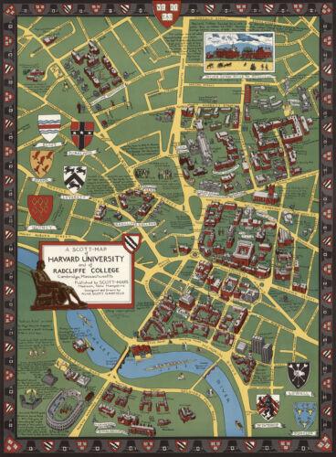 Historical Map of Harvard University Radcliffe College Cambridge Massachusetts