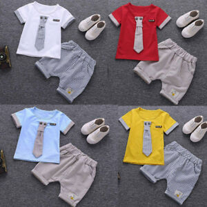 2PCS-Summer-Outfits-Clothes-Toddler-Baby-Kids-Boys-Tie-Tops-T-shirt-Shorts-Pants