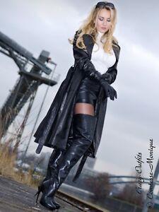 en noir en Manteau Manteau 32 XS Taille 58 cuir Trench cuir Xxxl ASxxwYOnqd