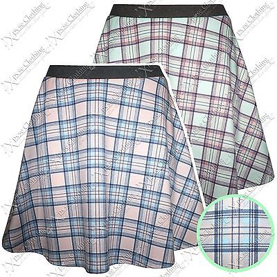 Warnen New Ladies Tartan Check Print Skater Skirt Womens Mini Summer Look Flared Skirts