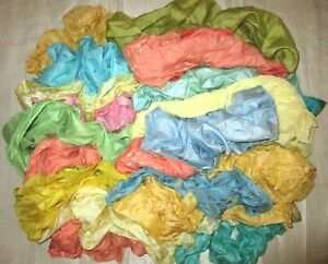 LOT-PURE-SILK-Antique-Vintage-Sari-REMNANT-Fabrics-100-GRAMS-CRAFT-DOLL-QUILT-25