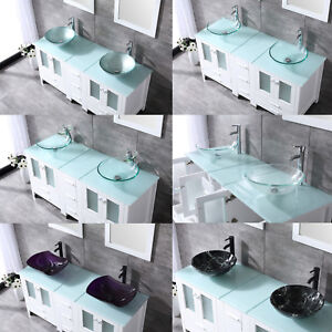 60 White Bathroom Vanity Cabinet Optional Double Sink Tempered Glass Top Mirror Ebay