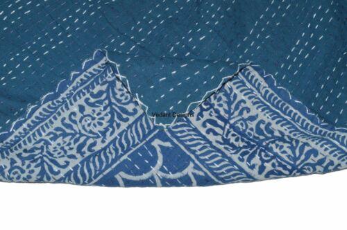 Indigo Blue Floral Quilt Coverlet Bedspread Gudari Indian Kantha Quilted Blanket