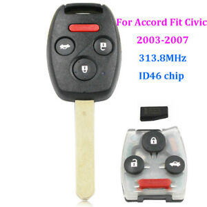 Remote-Key-Fob-4-Button-313-8Mhz-ID46-Chip-for-Honda-Accord-Fit-Civic-2003-2007
