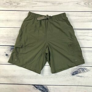 Columbia Swim Trunks Shorts Mens Small Green Belted Mesh Lined Hiking Outdoor