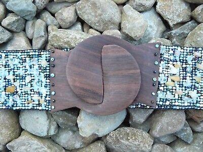 Donna Estensibile Pietre Perline Legno Cinghie Buckle. Uk Venditore-mostra Il Titolo Originale Superficie Lucente