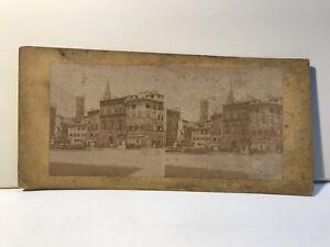 Florence-Place-Fontana-Italia-Foto-Stereo-Vintage-Albumina