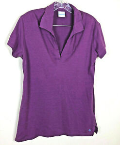 Columbia-womens-Short-Sleeve-Knit-Casual-Purple-V-neck-Top-Size-Medium