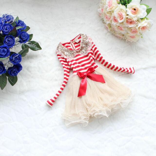 Popular Girl Toddler Sequins lace collar striped veil Party Tutu dress 2-5T YF63