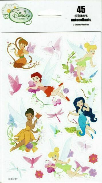 3 New sheets Disney FAIRIES Tinkerbell Faun Scrapbook Stickers!
