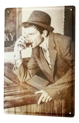 Blechschild Nostalgie Alkohol Retro Deko Mann mit Hut Scotch Metallschild 20X30