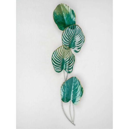 la fresque Leaves Feuilles 36x86cm vert en métal d/'Art Formano Déco