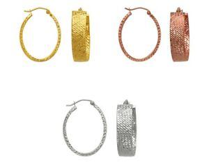 14K-Solid-Yellow-White-Rose-Gold-Hoop-Earrings-Women-Dainty-Oval-Hoops