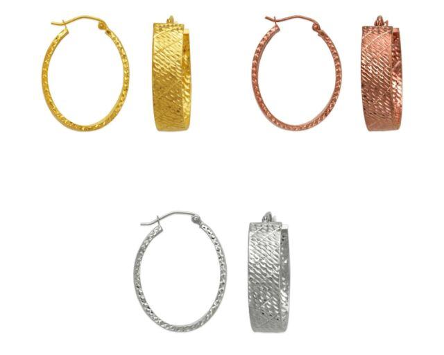 14K Solid Yellow White Rose Gold Italy Hoop Earrings Women Dainty Oval Hoops
