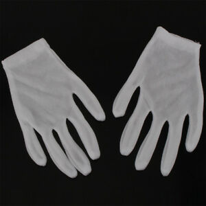 12 Pairs White Inspection Nylon Lisle Work Gloves Coin Jewelry Lightweight U S