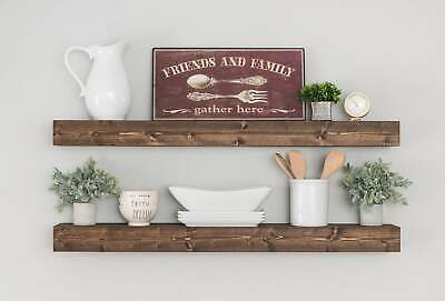 Wall Shelf Shelves Rustic Wood Floating Decor 2 Bracket Mount Storage Display