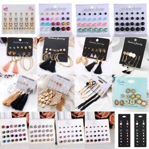 Fashion-Rhinestone-Crystal-Pearl-Tassel-Earrings-Set-Women-Ear-Stud-Jewelry-Gift