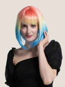 Multi Color Women's Rainbow Ombre Short Straight Wig With Bangs Cosplay Party...
