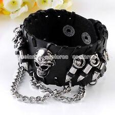 Punk Mens Monster Skull Link Chain Black Leather Bracelet Cuff Wristband Gothic