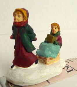 Grandeur-Noel-Christmas-Miniature-Victorian-Village-Children-and-A-Sled-1995