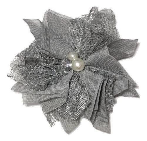 "3 pcs Gray 3/"" chiffon lace folded flowers w// rhinestones /& pearls DIY supplies"