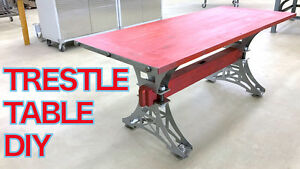 Hand Made Industrial Trestle Dining Table Steel Base Diy Kit