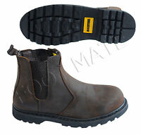 MENS BROWN LEATHER ANKLE CHELSEA DEALER STEEL TOE CAP SAFETY WORK BOOTS SHOES SZ