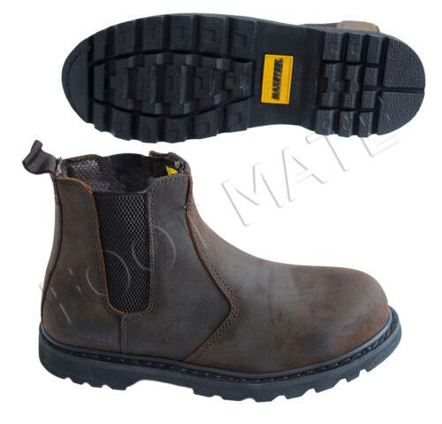 sécurité Sz de à bottes acier en chaussures boutonnière travail marron en rond pour de Bout Chelsea de homme cuir UaAgAx