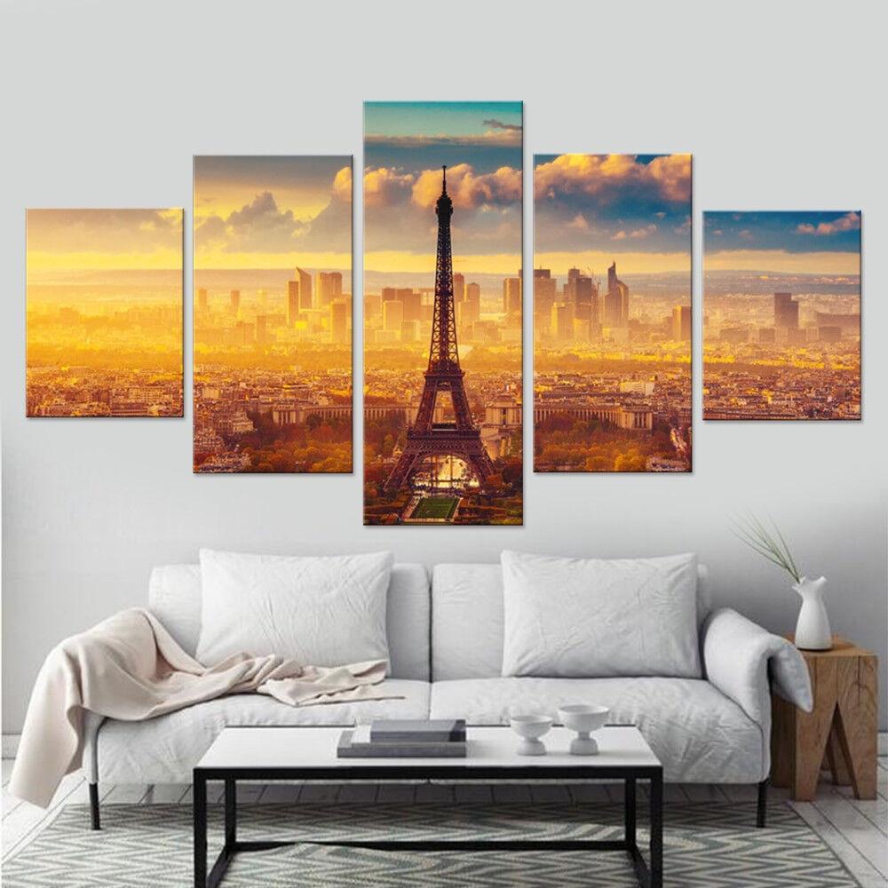 Eiffel Tower Paris City Sunset Landscape Poster 5 Panel Canvas Print Wall Art