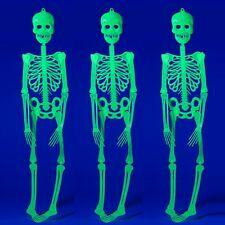 3x Halloween-Deko Grusel-Kunststoff-Skelett 90 cm Helloween leuchtet im Dunkeln
