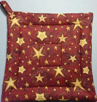 set of 3 Hand quilted Starburst hot pad kit vintage