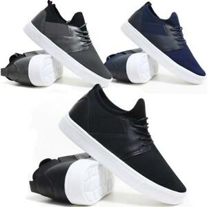 Mens-Lace-Up-Trainers-Chunky-Flat-Sole-Walking-Driving-Sports-Gym-Canvas-Shoes