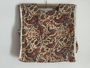 1960s-1970s-WOOD-Dowel-Handle-Jacobean-CANVAS-BAG-SEWING-KNITTING-Bag-TOTE-15X15